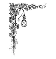 Ivy corner decoration and street lamp vector
