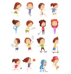 kids sport decorative icons set vector image vector image