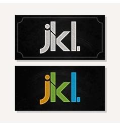 Letter j k l logo alphabet chalk icon set vector