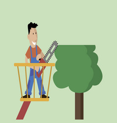 man cuts wood vector image vector image