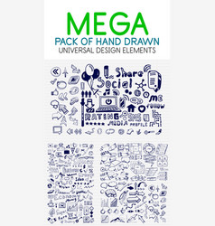 mega collection of hand drawn business vector image