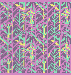 Military pixelate seamless pattern with grass vector