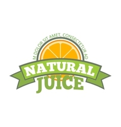 Natural orange juice logo label vector image vector image