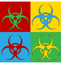 Pop art biohazard sign icons vector image vector image
