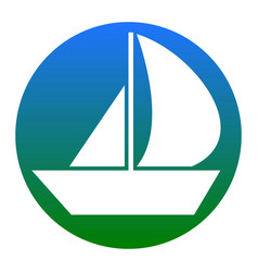 Sail boat sign white icon in bluish vector