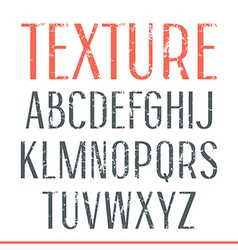 Sans serif narrow font with shabby texture vector