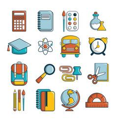 School education icons set cartoon style vector