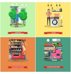 Set of cleaning service concept banners vector