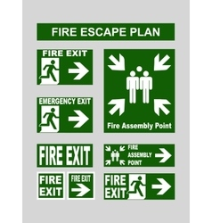 Set of emergency exit banners fire exit emergency vector