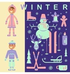 Set of winter children clothes vector
