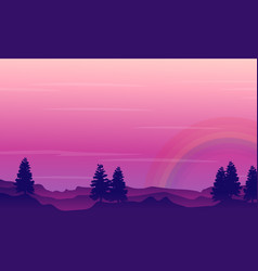 silhouette of hill with rainbow scenery vector image vector image