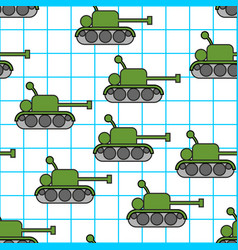 Tank childs drawing in notebook seamless pattern vector