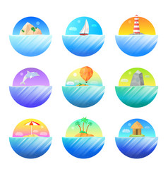 Tropical island round colorful icons set vector
