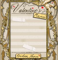 Vintage Graphic Page for Valentine s Menu vector image vector image