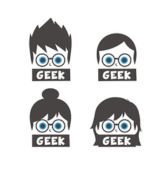 Young geek cartoon vector