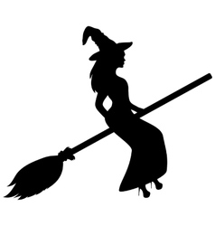 Young witch flying on a broomstick silhouette vector image