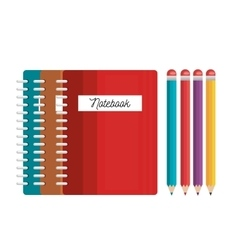 notebooks and pencils colored tools student vector image