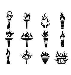 Black fire flame torch icons set vector