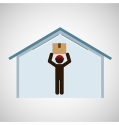 Silhouette worker box on head storage vector