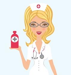 Blond doctor holding medicine vector image