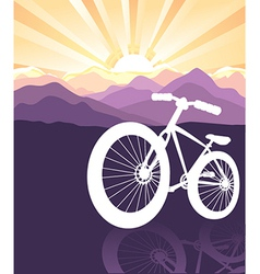 Bike silhouette mountains background vector