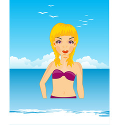 Making look younger girl on sea vector