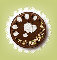 Whole chocolate cake vector