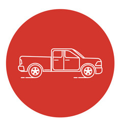 Line art style pickup truck icon vector