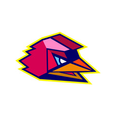 Angry rooster low polygon vector