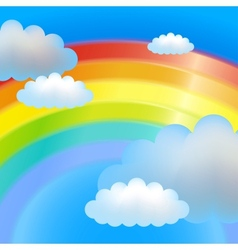 Clouds and rainbow vector