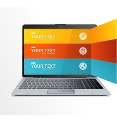 Text boxes infographics on laptop vector