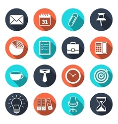 Office Icons with Shadow vector image