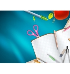 School supplies on blue background eps 10 vector