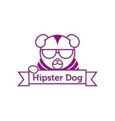 Hipster dog in sunglasses outline logotype vector