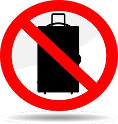 Ban luggage icon vector