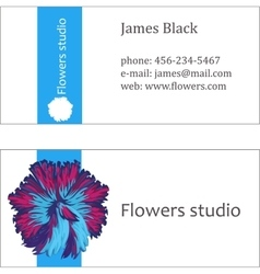Blue floral design business card vector
