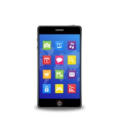 Smart phone with applications vector