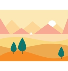 Seamless Cartoon Nature Landscape with Mountains vector image