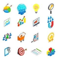 Office work set icons isometric 3d style vector
