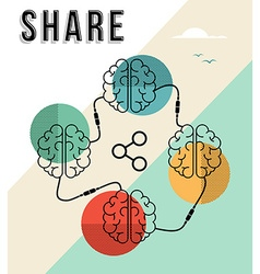 Share concept with connected human brains design vector