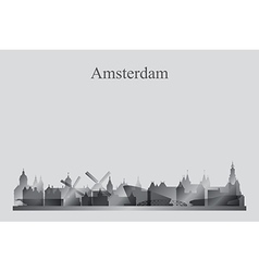 Amsterdam city skyline silhouette in grayscale vector