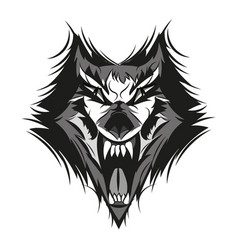angry face of terrible wolf vector image