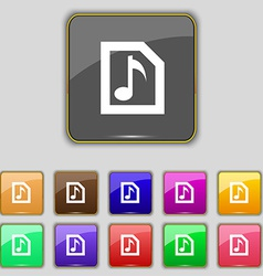 Audio MP3 file icon sign Set with eleven colored vector image
