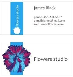 Blue floral design business card vector