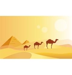 Camel caravan and pyramides vector