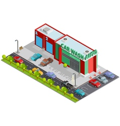 Car wash isometric composition vector