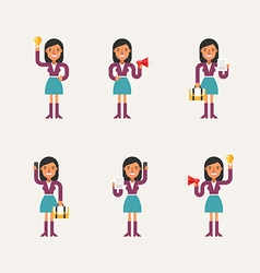 Cartoon Character Set of Businesswoman in Various vector image vector image