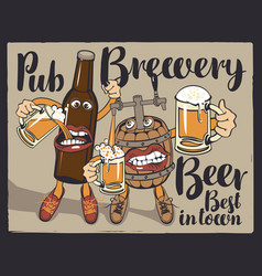 Cheerful beer bottle and barrel with beer glasses vector