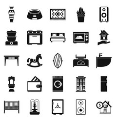 Crib icons set simple style vector