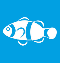 Cute clown fish icon white vector